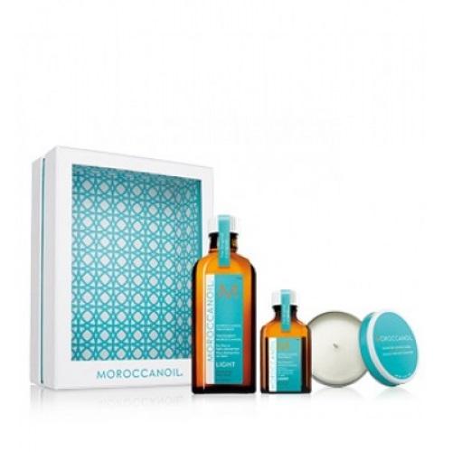 Moroccanoil Aliejukų rinkinys ploniems plaukams + kvapni žvakė