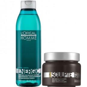 L'Oréal Professionnel Rinkinys vyrams: Homme Energic šampūnas ir plaukų pasta
