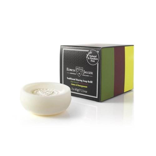 Edwin Jagger Traditional Shaving Soap Refill Skutimosi muilų rinkinys: alijošiaus, santalmedžio, laimų ir granatų 3x65g