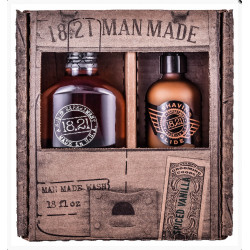 18.21 Man Made Wash & Shaving Glide Spiced Vanilla Gift Set Plaukų ir kūno priežiūros priemonių rinkinys vyrams