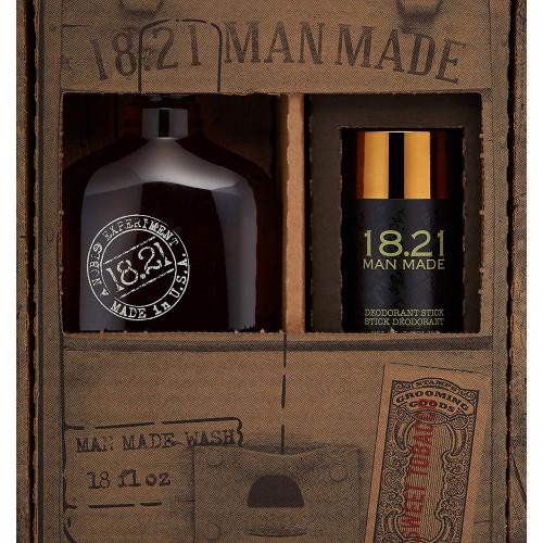 18.21 Man Made Wash & Deodorant Sweet Tobacco Gift Set Plaukų ir kūno priežiūros priemonių rinkinys vyrams