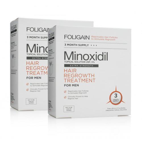 Foligain Minoxidil Topical Solution 5% Hair Regrowth Treatment for Men Plaukų augimą skatinanti priemonė vyrams 180ml