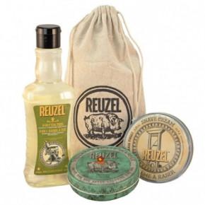 Reuzel Sh*t, Shower & Shave Set Rinkinys vyrų kūno ir plaukų priežiūrai su skutimosi kremu ir aromatine žvake 350ml+95.8g+113g