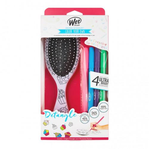 The Wet Brush Color Your Own Plaukų šepetys su flomasteriais