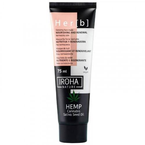IROHA Sleeping Face Mask Cannabis Seed Oil Naktinė veido kaukė 75ml