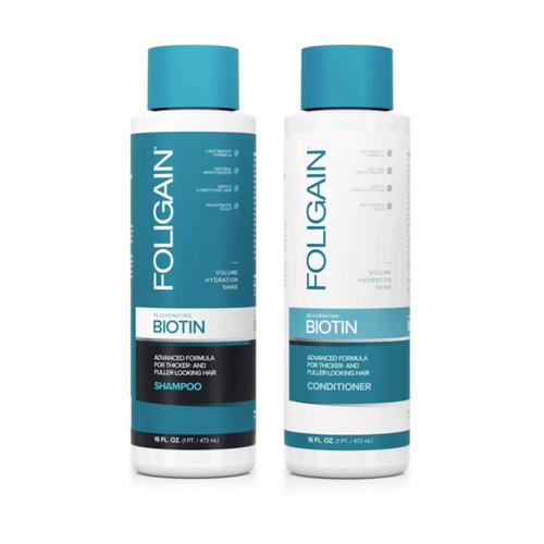 Foligain Rejuvenating Biotin Shampoo & Conditioner Atnaujinantis rinkinys plaukams su biotinu