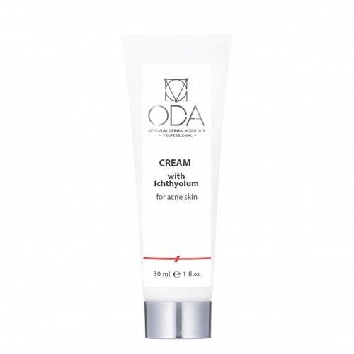 ODA Cream With Ichthyol, For Acne Skin Veido kremas su ichtiolu spuoguotai odai 30ml