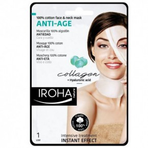 IROHA Cotton Face and Neck Mask Collagen Odos senėjimą stabdanti veido ir kaklo kaukė 30ml