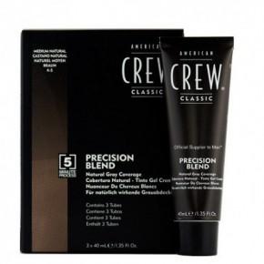 American Crew Precision Blend Medium Natural Braun 4-5 Plaukų dažymo sistema vyrams (natūraliai ruda) 3x40ml